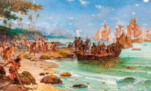Painting depicting the landing of the Portugese explorer Pedro Álvares Cabral in Brazil, 1500