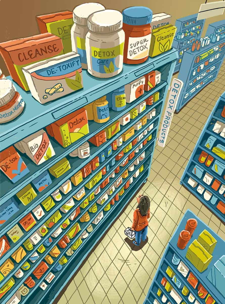 An illustration of tall shelves full of detox products looming over a woman looking up at them