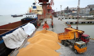 Workers load imported soybeans on to trucks at a port in Nantong in China's eastern Jiangsu province on Wednesday.