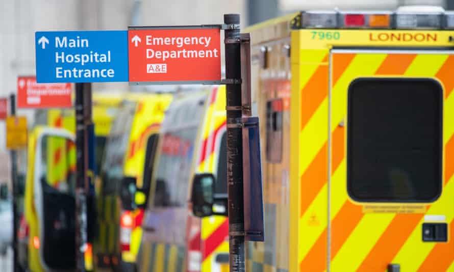 Ambulances outside the Royal London Hospital, 29 December 2020.