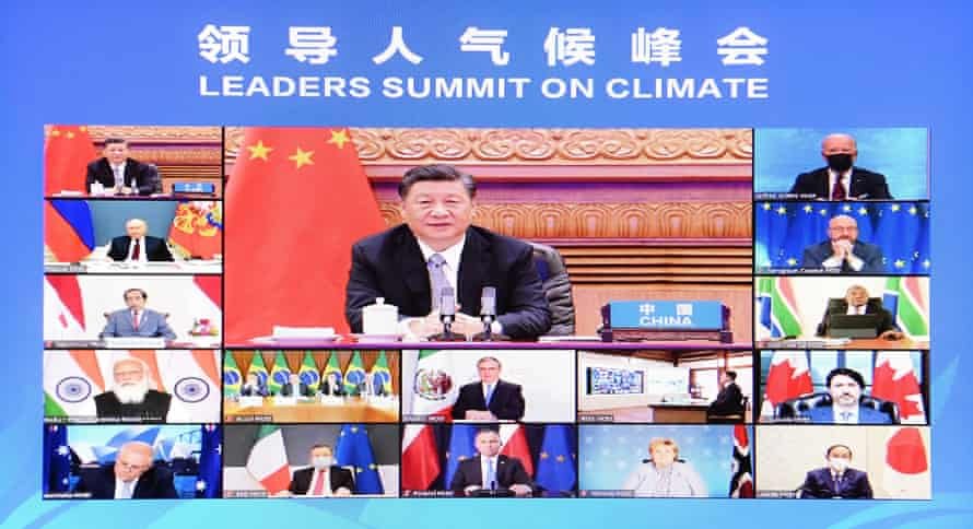 Xi Jinping remotely attends the Leaders Summit on Climate