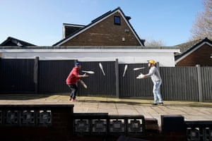 Blackpool, UK. Blackpool Tower resident clowns Mooky (left) and Mr Boo practise their circus skills during the lockdown