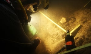 Divers investigate the Page-Ladson archaeological site in Florida.
