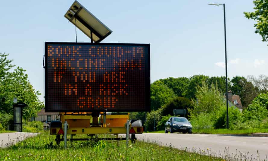 Roadway sign, June 2021, Buckinghamshire, urging vulnerable people to get vaccinated
