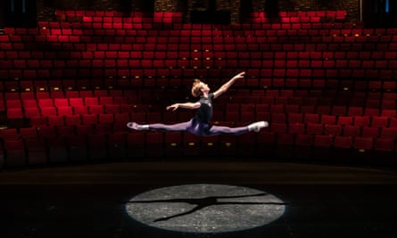 'Theatres should never be silent' … local ballet dancer George Edwards practises in an empty Theatr Clwyd during the Covid-19 pandemic.