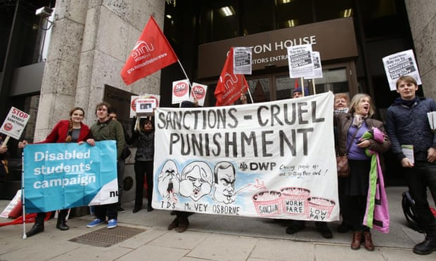 A protest outside the Department for Work and Pensions in London, calling for an end to benefit sanctions. The independent Office for Budget Responsibility has warned the Tories' squeeze on real spending in the next parliament would be tougher than anything seen over the past five years.