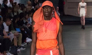 A model on the runway at the MAN catwalk show.