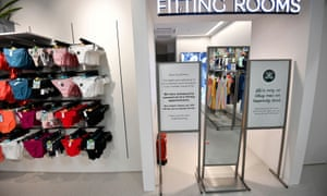 A notice saying that fitting rooms are closed is seen at Marks and Spencer, Hempstead Valley branch in Gillingham.