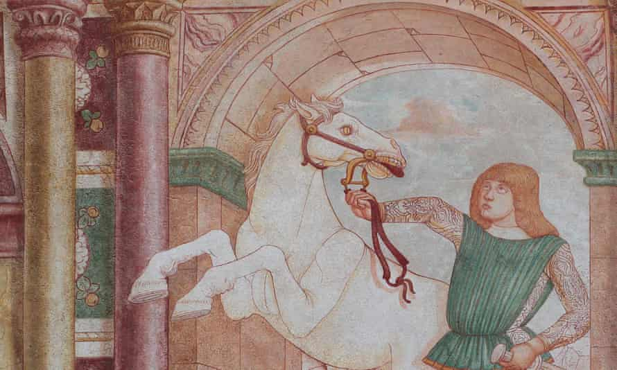 A 15th century fresco of a person wrestling with a horse by the bridle, by Andrea Bellunello at the exterior of the castle of Spilimbergo, Italy.