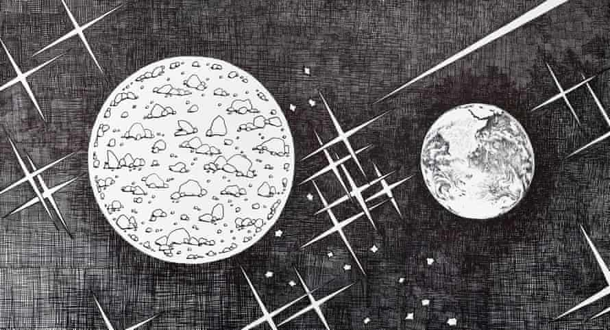 Pluto (And From Here You Look So Small), detail from Aleksandra Mir's Space Tapestry: Faraway Missions.