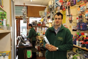 'We rarely admit defeat'… Dan Ebdon in his shop, Pextons Hardware.