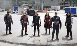 Anthony Mackie, from left, Paul Rudd, Jeremy Renner, Elizabeth Olsen, Chris Evans and Sebastian Stan in Captain America: Civil War.