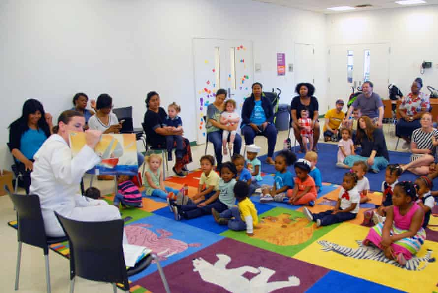Parents and children at the Crown Heights library in Brooklyn