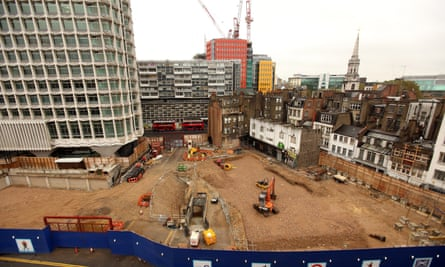 The Crossrail construction site at Tottenham Court Road tube station in 2009.
