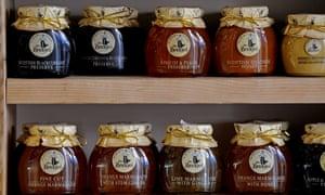 Shelves of Mrs Bridges marmalades and jams