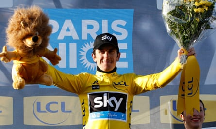 Geraint Thomas of Team Sky celebrates after taking the yellow jersey after the sixth stage of the Paris-Nice cycling race from Nice to La Madone d'Utelle.