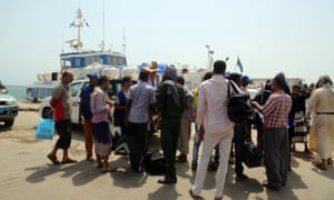 Ethiopian nationals await at the Red Sea port of Hodeida to repatriated by the International Organisation for Migration via Djibouti.