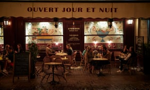 Parisians relax on the terrace of a cafe on 23 September 2020 in Paris, France.