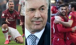 Zlatan Ibrahimovic of Milan; Carlo Ancelotti of Everton; Tiago Silva of Nottingham Forest