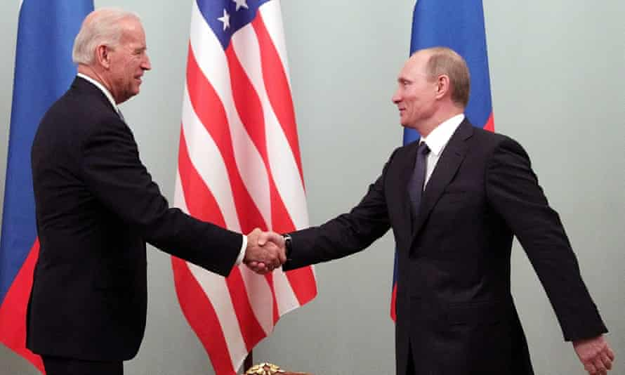 Joe Biden, then the US vice-president, shakes hands with Vladimir Putin, then Russia's prime minister, in Moscow in 2011.
