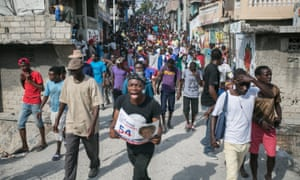 Opposition supporters demonstrate in Port-au-Prince last week.