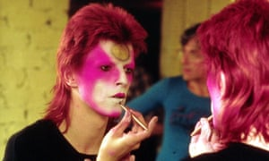 David Bowie in May 1973 applying Ziggy Stardust make-up