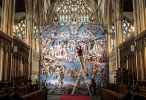 A reproduction of Michelangelo's The Last Judgment at Hull Minster, England