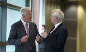 David Davis (right) and Michel Barnier