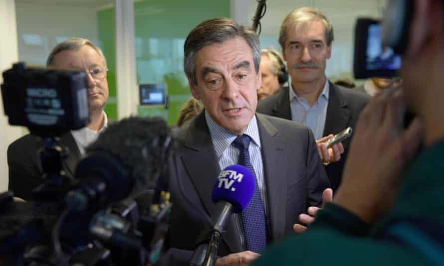 Francois Fillon speaks to the press on Friday.