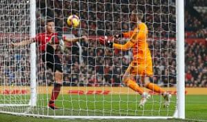 Ander Herrera clears but the ball had already crossed the line after a mistake by De Gea.
