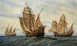 The three ships of Christopher Columbus in a watercolour by Rafael Monleon y Torres