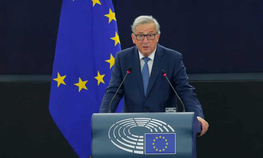 European Commission president Jean-Claude Juncker addresses the parliament on Wednesday.