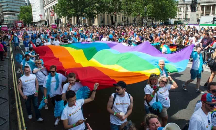 Crowds celebrate Pride in London in June 2016