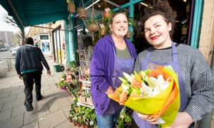 Florists Emily Deacon (R) and Claire Mobley
