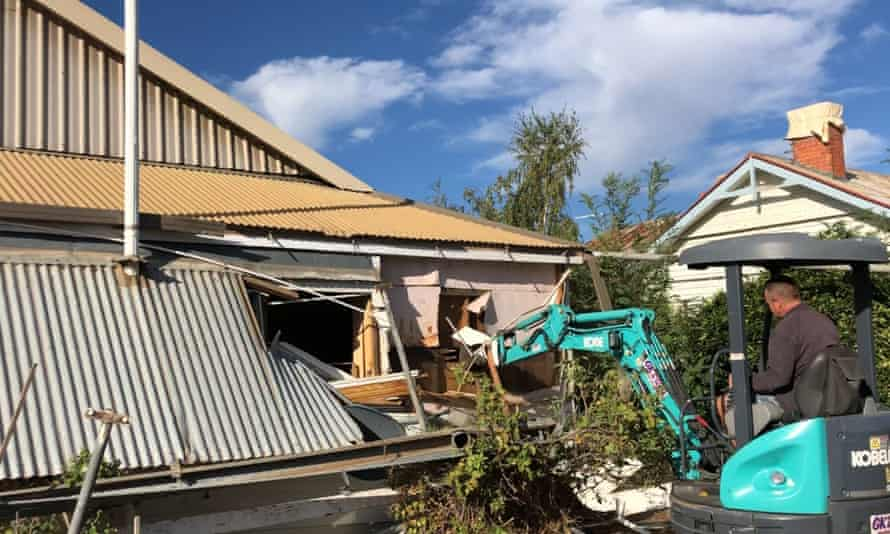 The brothers demolishing the house in Murtoa