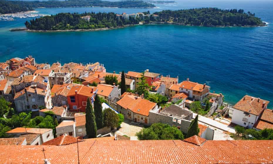 Rovinj harbour and Red Island viewed from above