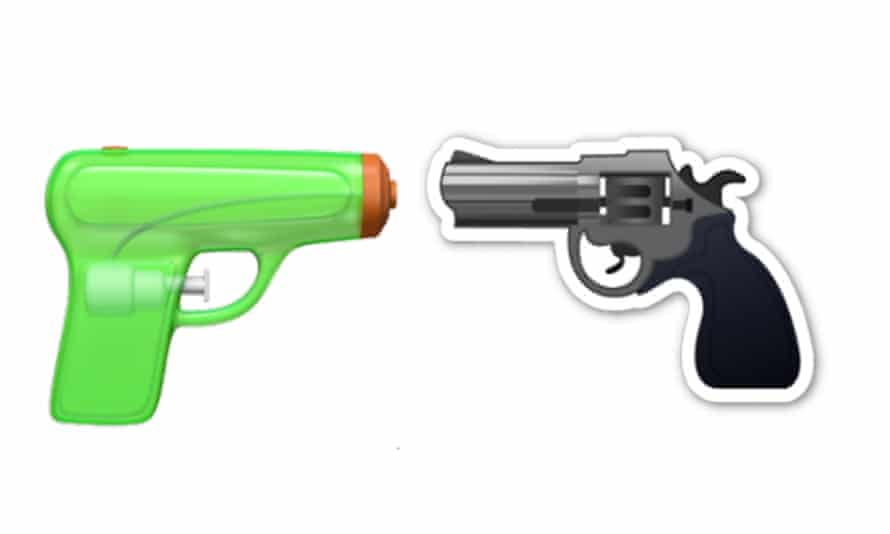 The new water pistol emoji and the old gun emoji by Apple.