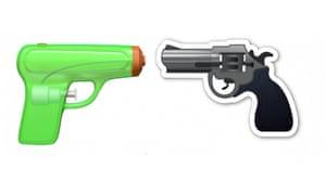 A water pistol emoji and a gun emoji by Apple.