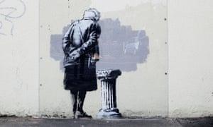 The original mural Art Buff, created by Banksy in Folkestone.