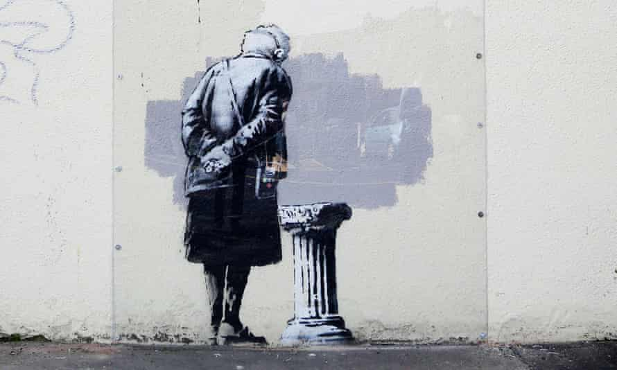 The original mural Art Buff, created by Banksy in Folkestone.