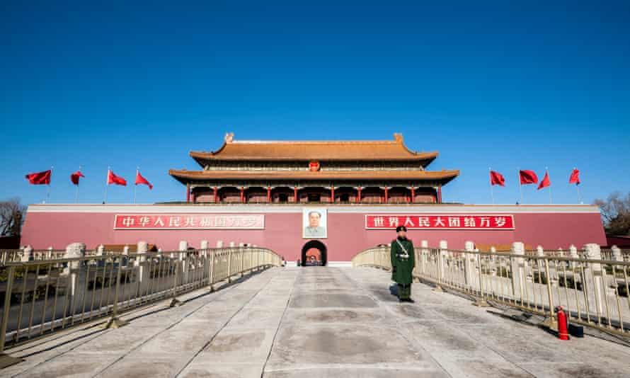 Soldier standing in front of Tiananmen TowerBeijing, China.