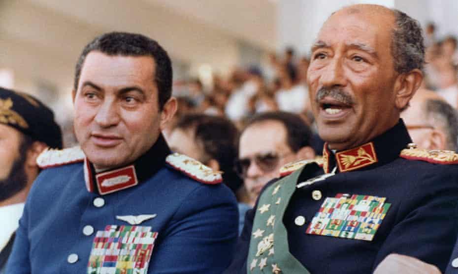 Egypt's vice president Hosni Mubarak with president Anwar Sadat, 6 October 1981.