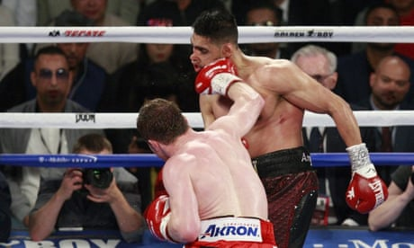 334c78ca83da2 Amir Khan knocked out by Canelo Álvarez: WBC middleweight title – in  pictures