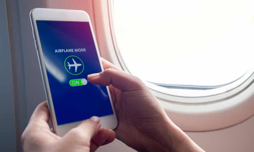 A smartphone turned on to airplane mode