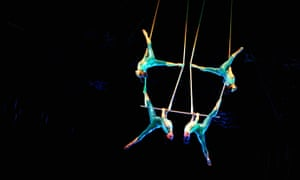 Avant garde artistry and dazzling stunts ... Cirque du Soleil trapeze artists in rehearsal.