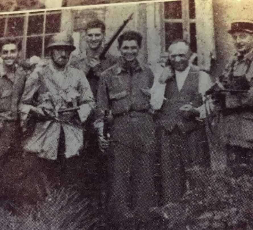 Stephen Weiss, third from left, in France, 1944, after being cut off from his US army unit