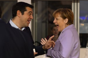 Germany's Chancellor Angela Merkel (R) talks to Greece's Prime minister Alexis Tsipras as she arrives for a second working session of the European Union - Africa Summit on Migration at the Meditterranean Conference Center, on November 12, 2015 in La Valletta. EU leaders attending a summit with their African counterparts today approved a 1.8-billion-euro trust fund for Africa aimed at tackling the root causes of mass migration to Europe. AFP PHOTO / FILIPPO MONTEFORTEFILIPPO MONTEFORTE/AFP/Getty Images