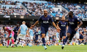 Lucas Moura celebrates scoring Spurs' second goal with Tanguy Ndombele.