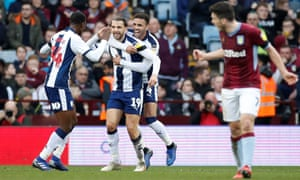 Jay Rodriguez celebrates scoring West Brom's second goal in the win at Villa.