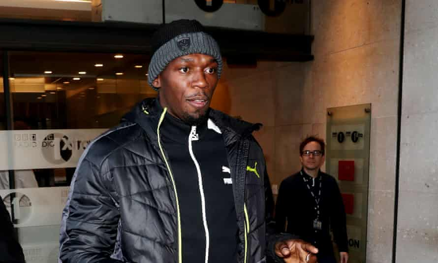 Usain Bolt out and about in Lomdon at the studios of BBC Radio 1.